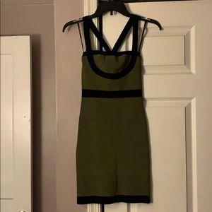 bebe green black bodycon dress new size small